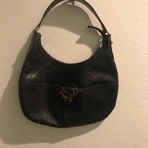 Gucci Perforated Black Leather Hobo purse